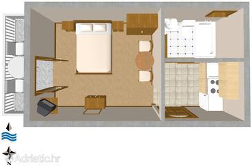 Podgora, Schema nell'alloggi del tipo studio-apartment, WiFi.