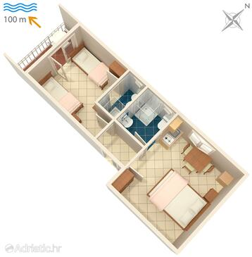 Podaca, plattegrond in the apartment, WiFi.