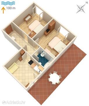 Podaca, Půdorys v ubytování typu apartment, WiFi.