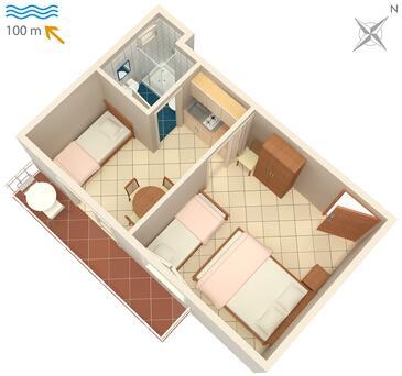 Podaca, Plan kwatery w zakwaterowaniu typu studio-apartment, WIFI.
