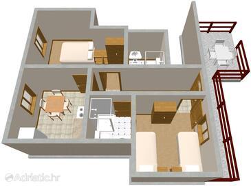 Lovište, Půdorys v ubytování typu apartment, domácí mazlíčci povoleni a WiFi.