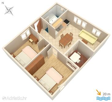 Podgora, Plan in the apartment, dopusteni kucni ljubimci i WIFI.