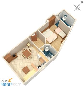Podgora, Plan in the apartment, (pet friendly) and WiFi.