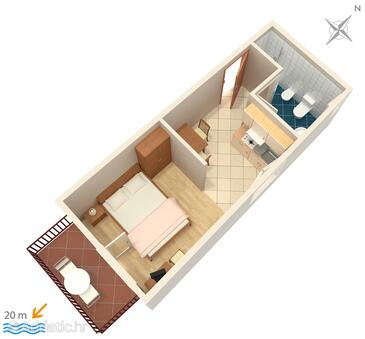 Podgora, Plan in the studio-apartment, dopusteni kucni ljubimci i WIFI.