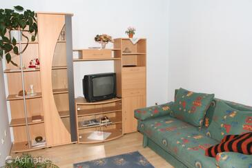 Podgora, Living room in the apartment, dostupna klima, dopusteni kucni ljubimci i WIFI.