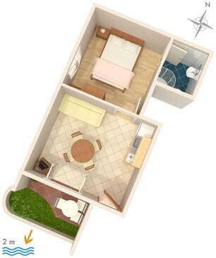 Zaostrog, Půdorys v ubytování typu apartment, dopusteni kucni ljubimci i WIFI.