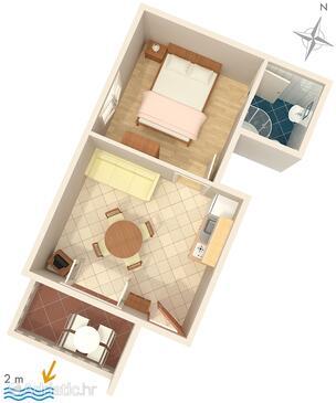 Zaostrog, Půdorys v ubytování typu apartment, domácí mazlíčci povoleni a WiFi.