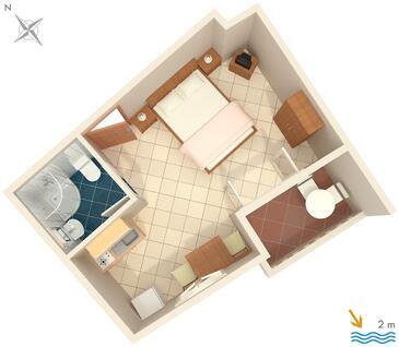 Zaostrog, Pôdorys v ubytovacej jednotke studio-apartment, domáci miláčikovia povolení a WiFi.