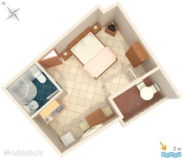 Zaostrog, Plan in the studio-apartment, dopusteni kucni ljubimci i WIFI.