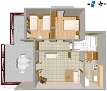 Bratuš, Půdorys v ubytování typu apartment, WiFi.