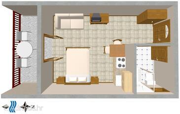 Bratuš, План в размещении типа studio-apartment, WiFi.