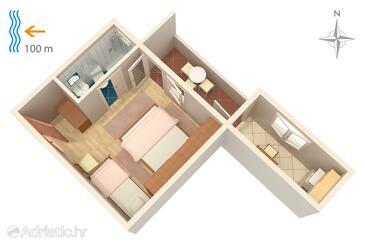 Makarska, Půdorys v ubytování typu studio-apartment, domácí mazlíčci povoleni a WiFi.