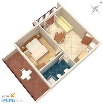 Zaostrog, Půdorys v ubytování typu apartment, WiFi.