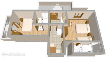 Orebić, Půdorys v ubytování typu apartment, domácí mazlíčci povoleni a WiFi.