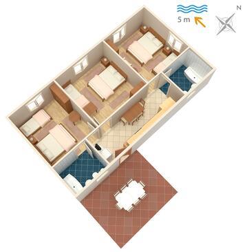 Podaca, Plan kwatery w zakwaterowaniu typu apartment, dopusteni kucni ljubimci.