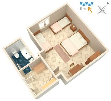 Podaca, Plan kwatery w zakwaterowaniu typu studio-apartment, dopusteni kucni ljubimci.