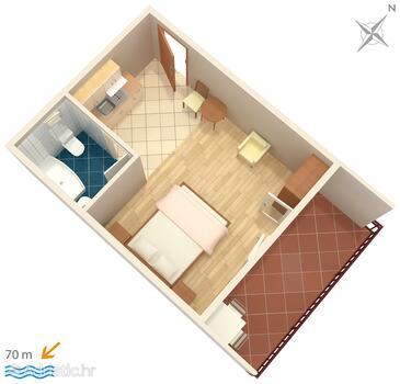 Zaostrog, Plan in the studio-apartment.