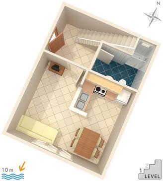 Podgora, Alaprajz szállásegység típusa apartment, WiFi .