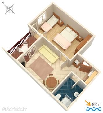 Tučepi, Plan in the apartment, (pet friendly) and WiFi.