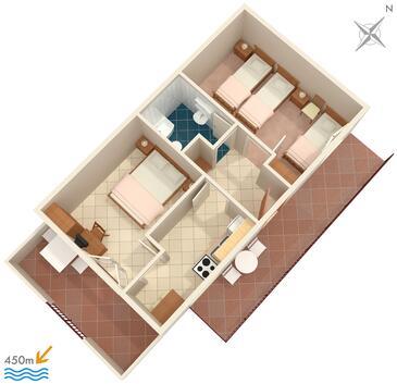 Orebić, Plan kwatery w zakwaterowaniu typu apartment, dopusteni kucni ljubimci i WIFI.
