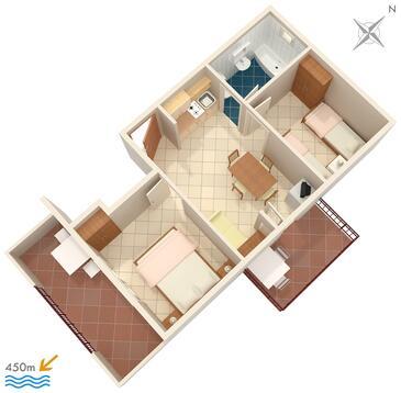 Orebić, Plan kwatery w zakwaterowaniu typu apartment, zwierzęta domowe są dozwolone i WiFi.
