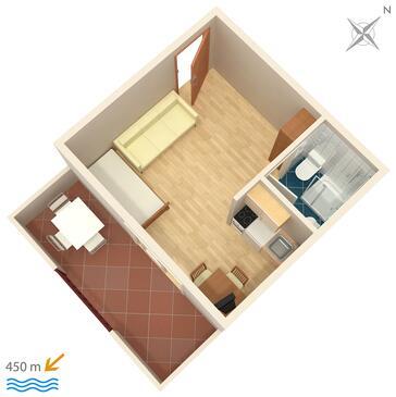 Orebić, Plan kwatery w zakwaterowaniu typu studio-apartment, dopusteni kucni ljubimci i WIFI.