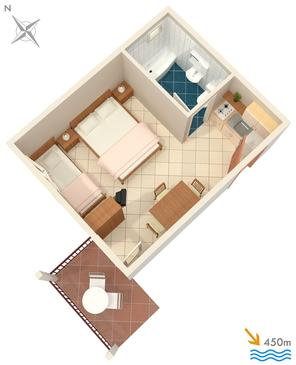 Orebić, Plan kwatery w zakwaterowaniu typu studio-apartment, zwierzęta domowe są dozwolone i WiFi.