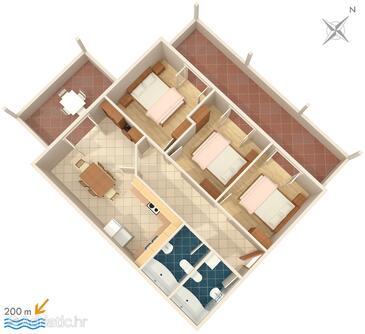 Brela, Načrt v nastanitvi vrste apartment, WiFi.