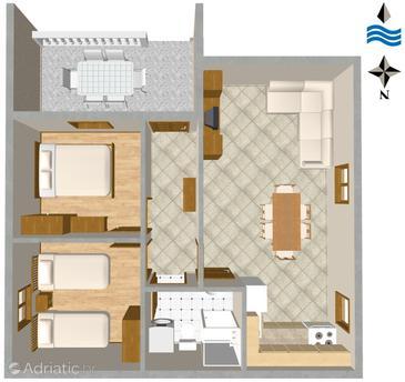 Rogoznica, Plan in the apartment, dopusteni kucni ljubimci i WIFI.