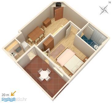 Drašnice, Grundriss in folgender Unterkunftsart apartment, Haustiere erlaubt und WiFi.