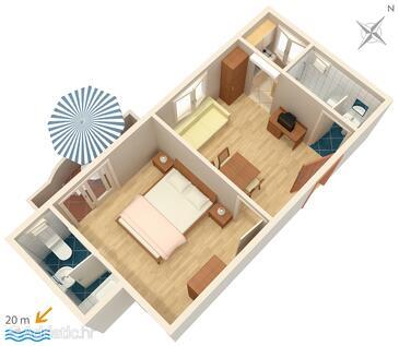 Drašnice, Alaprajz szállásegység típusa apartment, háziállat engedélyezve és WiFi .