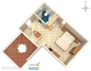 Makarska, Plan in the studio-apartment, WIFI.