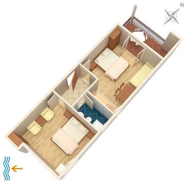 Tučepi, Grundriss in folgender Unterkunftsart apartment, Haustiere erlaubt und WiFi.