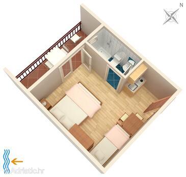 Tučepi, Pôdorys v ubytovacej jednotke studio-apartment, domáci miláčikovia povolení a WiFi.