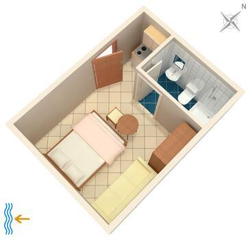 Tučepi, Načrt v nastanitvi vrste studio-apartment, Hišni ljubljenčki dovoljeni in WiFi.