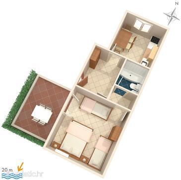 Baška Voda, План в размещении типа apartment, Домашние животные допускаются и WiFi.