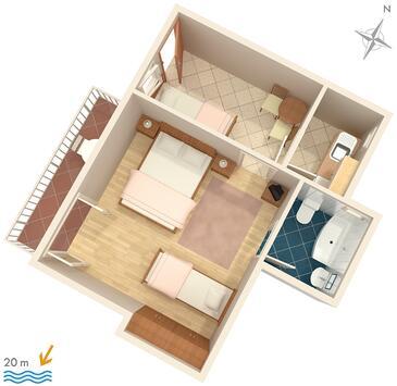 Baška Voda, Plan dans l'hébergement en type apartment, animaux acceptés et WiFi.