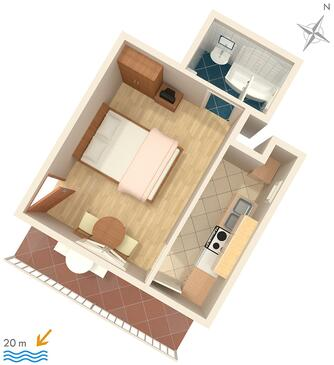 Baška Voda, Plan in the studio-apartment, dopusteni kucni ljubimci i WIFI.