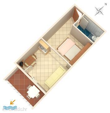 Igrane, План в размещении типа studio-apartment, WiFi.