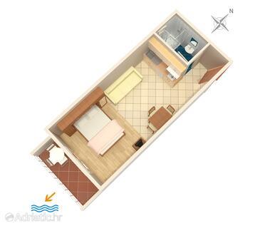 Igrane, Plan in the studio-apartment, WIFI.