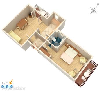 Slano, Plan in the apartment, (pet friendly) and WiFi.