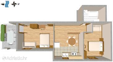 Promajna, Plan in the apartment, WIFI.