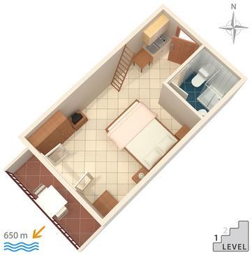 Makarska, Plan kwatery w zakwaterowaniu typu studio-apartment, WIFI.
