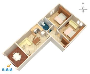 Tučepi, Plan kwatery w zakwaterowaniu typu apartment, WiFi.
