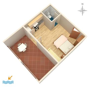 Tučepi, Plan kwatery w zakwaterowaniu typu studio-apartment, WiFi.