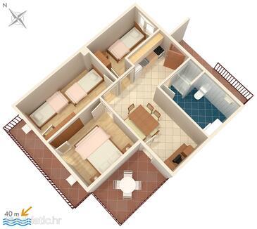 Podaca, Plan in the apartment, WiFi.