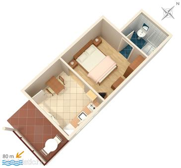 Makarska, Plan in the studio-apartment, dopusteni kucni ljubimci i WIFI.