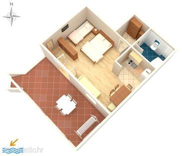 Promajna, Plan in the studio-apartment, WIFI.