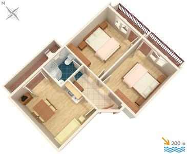 Baška Voda, Plan dans l'hébergement en type apartment, WiFi.