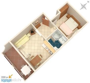 Baška Voda, План в размещении типа apartment, WiFi.